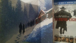 The Hateful Eight Blu-ray combo pack's slipcover opens like a book to display this tasteful piece of art.