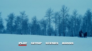 The Hateful Eight's unique menu hangs on long snowy shots while playing an extended excerpt of Ennio Morricone's Oscar-winning score.