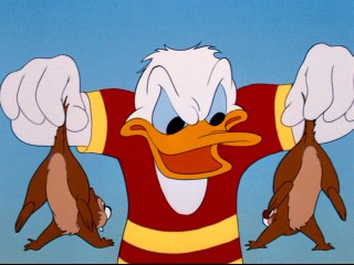 "Donald Duck does not take kindly to Chip 'n Dale paying him a visit in ""Trailer Horn."""