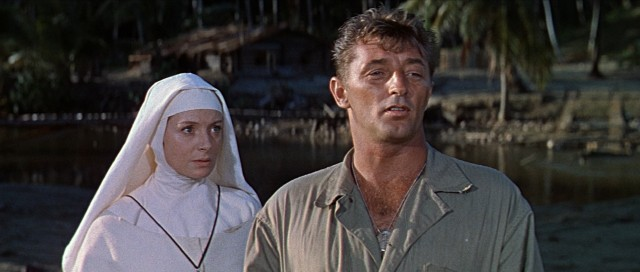 "A Catholic nun (Deborah Kerr) and a U.S. Marine Corps corporal (Robert Mitchum) become unlikely companions and allies in ""Heaven Knows, Mr. Allison."""