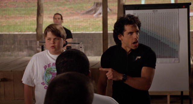 Tony Perkis (Ben Stiller) chews out young protagonist Gerry Garner (Aaron Schwartz) for not losing weight.