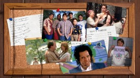 The Heavyweights Blu-ray menu places cast photographs on a camp-like bulletin board.