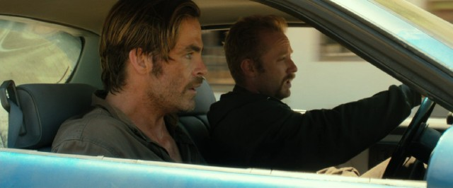 "Toby (Chris Pine) and Tanner Howard (Ben Foster) make a getaway after robbing a Texas Midlands Bank in ""Hell or High Water."""