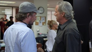 "David Mackenzie directs Jeff Bridges on the set of ""Hell or High Water."""