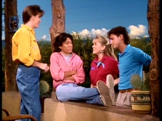 The four teen workers of Bar None Ranch, from left to right: Brad (Kelly Brown), Danny (Joe Torres), Melody (Christine Taylor), and Ted (David Lascher).