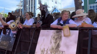 Fans show their enthusiasm at the film's red carpet world premiere in Wellington, New Zealand.