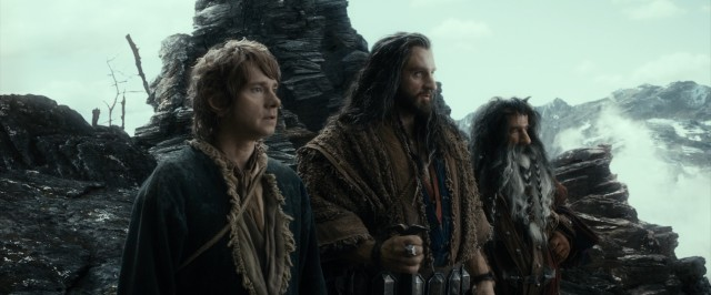 Bilbo Baggins (Martin Freeman), Thorin (Richard Armitage), and another dwarf take in the sights of their grand journey.