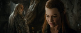 Tauriel (Evangeline Lilly) senses attraction from both an elf above her and a dwarf beneath her.
