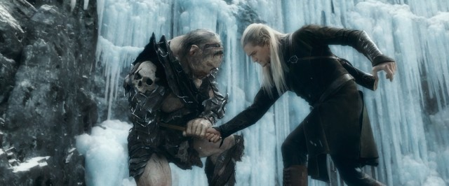 "For those of you who didn't get your fill of Orc battle scenes from ""The Lord of the Rings"", here is Legolas (Orlando Bloom) stabbing one of the beasts in icy combat."