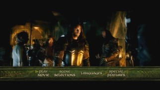 Dwarves assemble on the DVD's animated main menu.