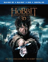 The Hobbit: The Battle of the Five Armies Blu-ray 3D + Blu-ray + DVD + Digital HD combo pack cover art -- click to buy from Amazon.com