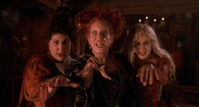 The Sanderson sisters/witches -- Mary (Kathy Najimy), Winnie (Bette Midler), and Sarah (Sarah Jessica Parker) -- attack in the prologue set in 1693.