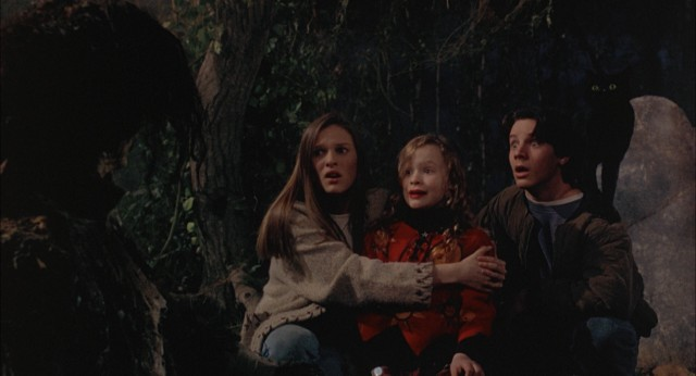 Allison (Vinessa Shaw), Dani (Thora Birch), Max (Omri Katz), and Thackery Binx get a scare when Billy Butcherson emerges from his grave with his mouth stitched shut.