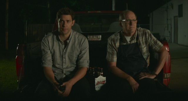 "John Krasinski and Richard Jenkins play son and father in ""The Hollars."""