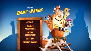 The new Home on the Range DVD gets a simpler main menu, void of EasyFind icons.