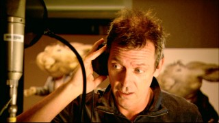 "Hugh Laurie records his lines as The Easter Bunny in the character's ""The World of 'Hop'"" short."