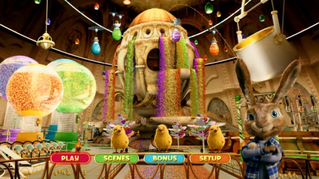 The DVD's main menu shows off the Easter Island candy factory in all its colorful splendor.