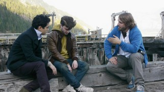 "Alexandre Aja directs Max Minghella and Daniel Radcliffe on the set of ""Horns."""