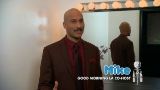 "Keegan-Michael Key (of ""Key & Peele"" fame) reprises his minor role of morning talk show host Mike in the infomercial ""It's the Shower Buddy."""