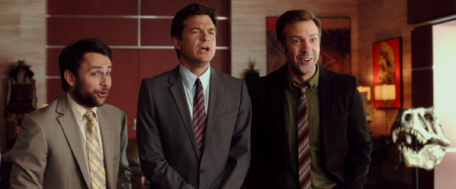 "Dale (Charlie Day), Nick (Jason Bateman), and Kurt (Jason Sudeikis) are excited to become their own bosses in ""Horrible Bosses 2."""