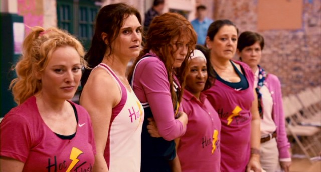 Beat but not beaten, The Hot Flashes (Virginia Madsen, Brooke Shields, Daryl Hannah, Wanda Sykes, Camryn Manheim) deal with a loss in varied ways.