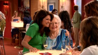 "Melanie (Valerie Bertinelli) and Elka (Betty White) pose as a couple on a lesbian cruise in ""Beards."""