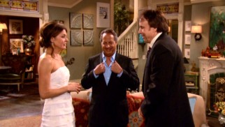 Archie (Jon Lovitz) officiates the spontaneous wedding of Joy (Jane Leeves) and the dying George (Kevin Nealon).