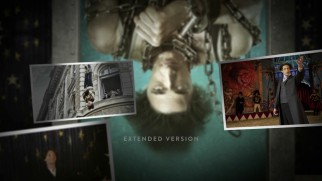 The Houdini Blu-ray zooms out from the cover art to reveal layers of floating stills.