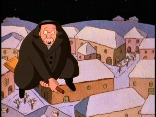 Evil Mr. Grimm (voiced by Tony Randall) isn't at ease flying on Granny Rose's broomstick.