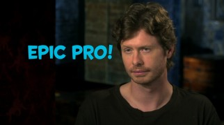 "Anders Holm earns an Epic Pro graphic as he describes his character in ""Pros & Cons of 'How to Be Single.'"""