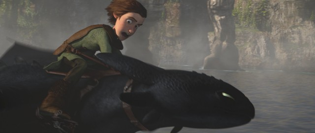"Hiccup flies Toothless in ""How to Train Your Dragon."""