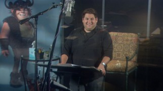 "Jonah Hill looks the part of Snotlout while recording his lines in ""Viking-Sized Cast."""
