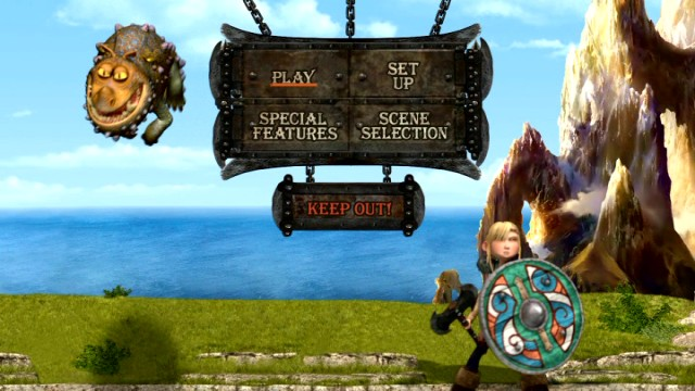 "A Gronckle and Astrid get their turn on the ""How to Train Your Dragon"" DVD main menu."