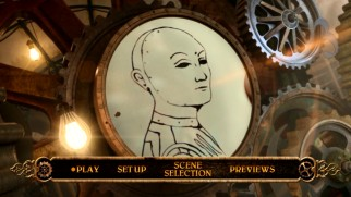 The DVD menu shows Hugo's notebook drawings of the automatons within the gears of the clock.