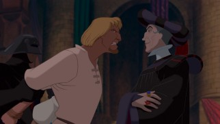 Judge Claude Frollo has Phoebus, his newly-appointed captain of the guard, taken away for insubordination.