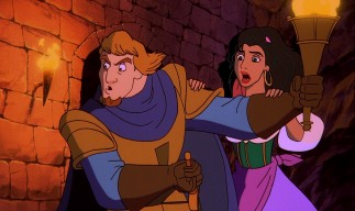 Phoebus and Esmeralda aim to rescue their son Zephyr in the sequel's climax.