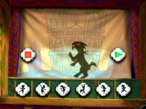 "The Hunchback II DVD's ""Festival of Fun Activity"" lets you program a dance routine for shadow puppet of Djali the goat."
