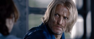 "Is that Woody Harrelson?!"", asked a moviegoer a good hour into my showing of the film. Why, yes, it is! Donning a blonde wig, Harrelson plays District 12's mentor, alcoholic former champion Haymitch Abernathy."