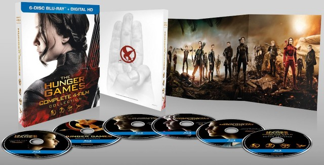 A look at the discs and packaging of Lionsgate's The Hunger Games: Complete 4-Film Collection Blu-ray + Digital HD.