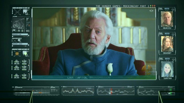 "The Blu-ray menu for ""The Hunger Games: Mockingjay, Part 1"" looks like a live Capitol transmission from President Snow (Donald Sutherland)."