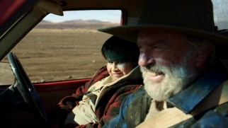 "Julian Dennison and Sam Neill share a laugh in the ""Hunt for the Wilderpeople"" blooper reel."