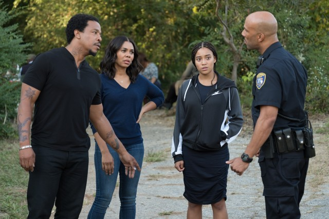 The Carter family (Russell Hornsby, Regina Hall, and Amandla Stenberg) gets information but not reassurances from Uncle Carlos (Common).