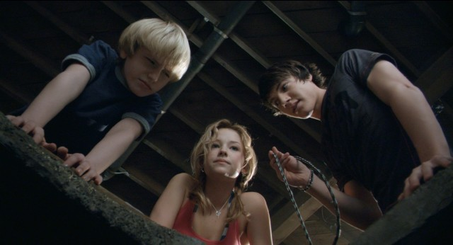 "Lucas (Nathan Gamble), Julie (Haley Bennett), and Dane (Chris Massoglia) try to discover just how deep ""The Hole"" is."
