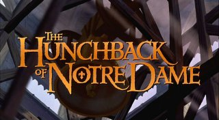"The title logo for Disney's 1996 animated film ""The Hunchback of Notre Dame."""
