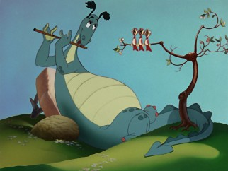 The Reluctant Dragon lives up to his title by preferring flute to fighting.