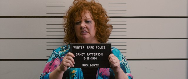 A drunken, disorderly Diana (Melissa McCarthy) winds up taking an unflattering Nick Nolte-esque mug shot on the birthday of her assumed identity, Sandy Patterson.