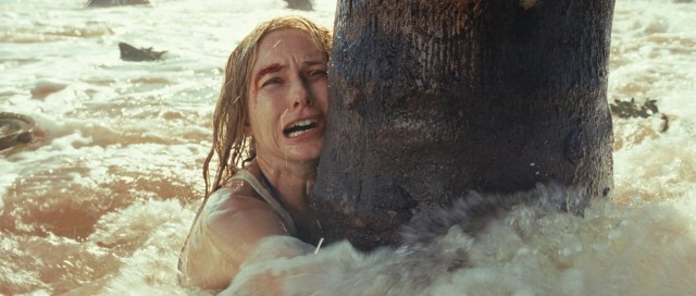 Thailand vacationer Maria Bennett (Naomi Watts) clings to a tree trunk for life amidst the deadly waves of the 2004 Indian Ocean tsunami.