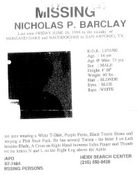 The San Antonio Police Department's missing persons report for Nicholas Barclay is among the 21-page PDF document of case files accessible with a scan of the disc's QR code.