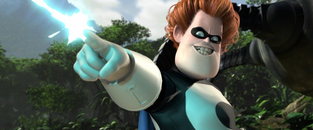 A scorned sidekick in youth, Buddy Pine has grown into the villain Syndrome, who demonstrates his zero point energy to a captive Mr. Incredible.