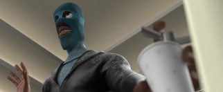 Looking like a bad guy in a ski mask, a thirsty Frozone requires a drink of water.